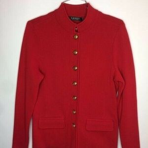 Lauren Ralph Womens Red Size PS Cardigan NWT